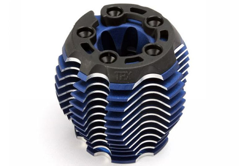 Cooling head, PowerTune (machined aluminum, blue-anodized) (TRX 3.3), head protector (1), 3x6mm CCS  TRA5238R