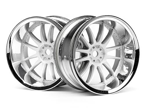 Диски 1/10 - WORK XSA 02C 26mm CHROME/WHITE (вынос 9mm) 2шт HPI-3285