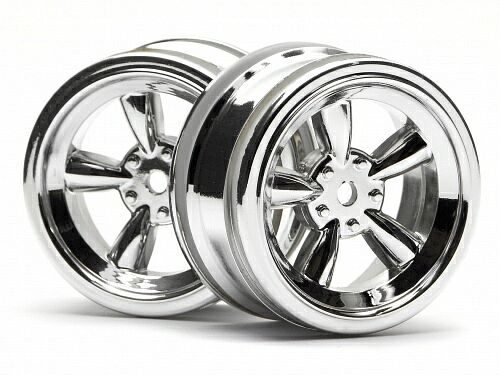 Диски 1/10 - VINTAGE 5 SPOKE 26MM SHINY CHROME (0MM OFFSET) 2шт HPI-3817