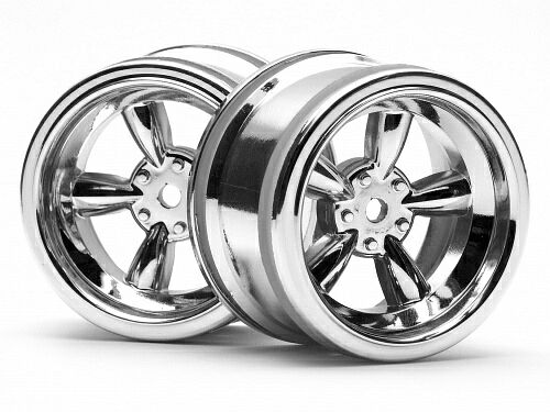 Диски туринг 1/10 - VINTAGE 5 SPOKE 31MM SHINY CHROME (6MM OFFSET) 2шт HPI-3822