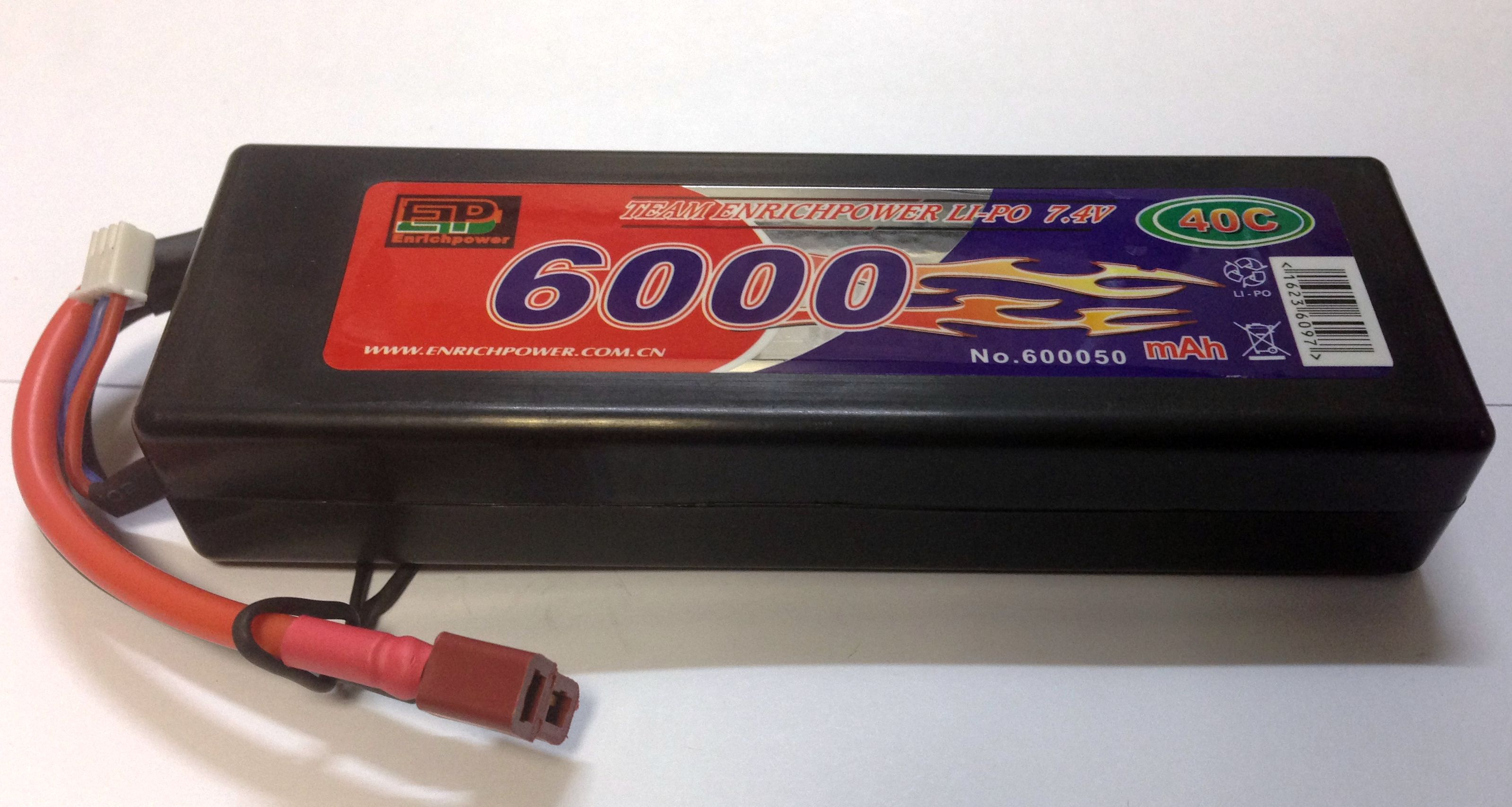 Аккумулятор Li-po High Power 7.4V 2S 6000mAh 40C / DEANS EP60002S40