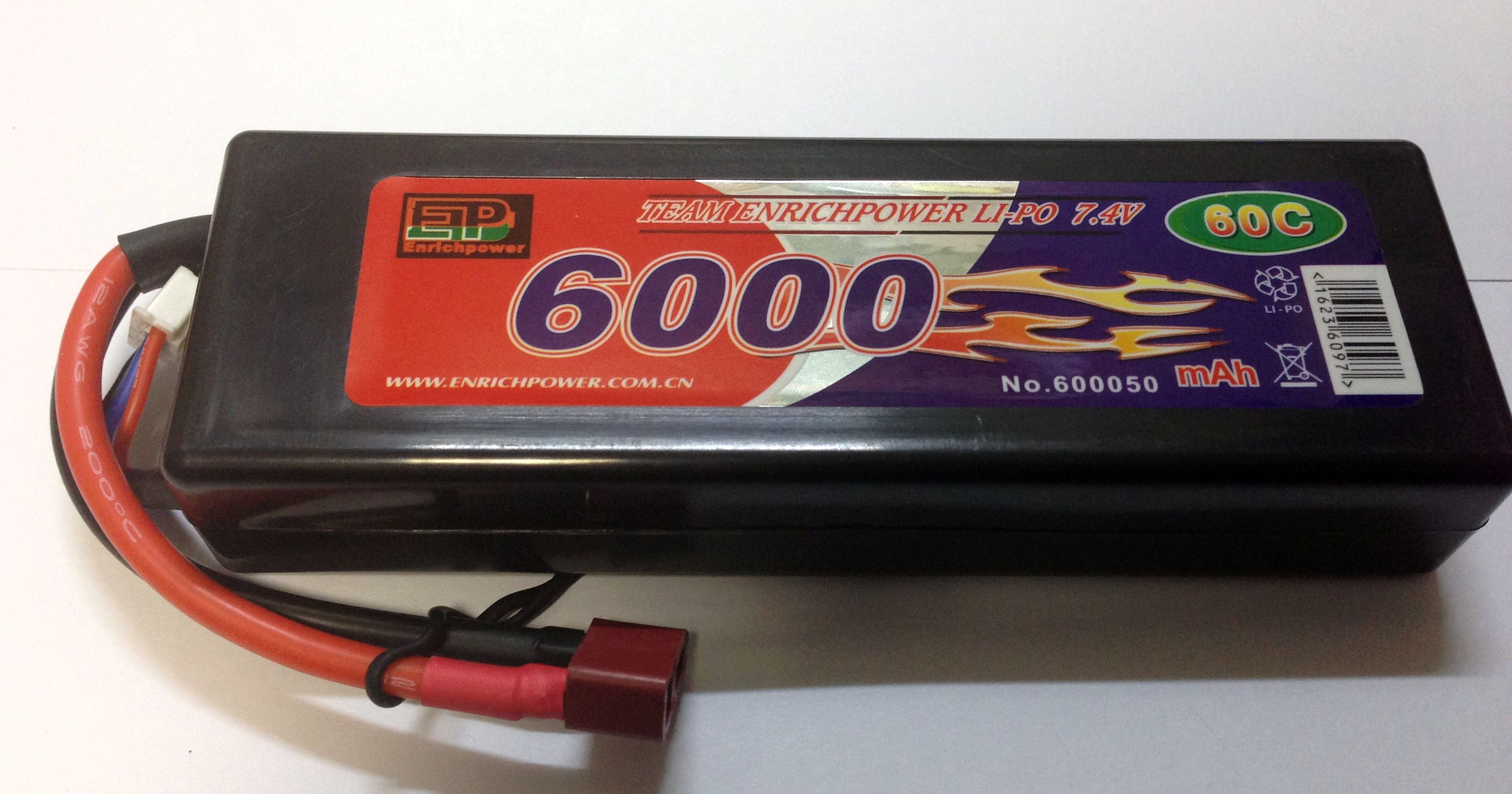 Аккумулятор Li-po High Power 7.4V 2S 6000mAh 60C / DEANS EP60002S60