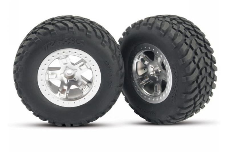 TRAXXAS запчасти Tires  wheels, assembled, glued (SCT satin chrome red beadlock wheels, ultra soft S1 compound o TRA5873R