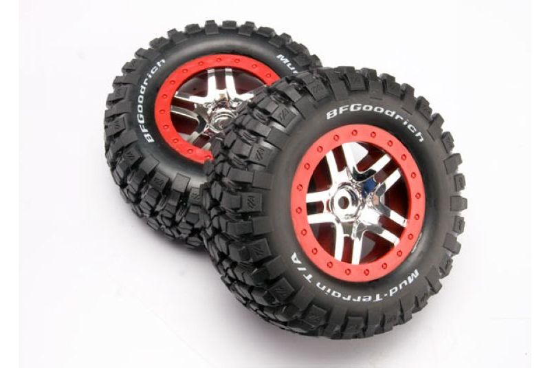 TRAXXAS запчасти Tires  wheels, assembled, glued (SCT Split-Spoke chrome, red beadlock style wheels, BFGoodrich® TRA6873A