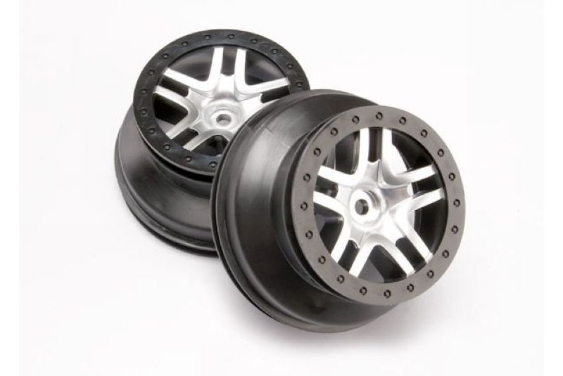 TRAXXAS запчасти Wheels, SCT Split-Spoke, satin chrome, black beadlock style, dual profile (2.2'' outer 3.0 TRA6872