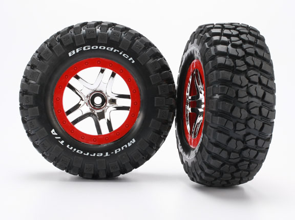 TRAXXAS запчасти Tires  wheels, assembled, glued (S1 ultra-soft, off-road racing compound) (SCT Split-Spoke chro TRA6873R