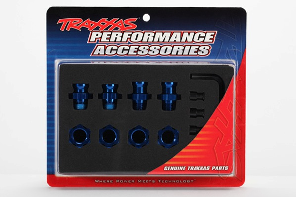 TRAXXAS запчасти Wheel hubs, splined, 17mm, short (2), long (2)/wheel nuts, splined, 17mm (4) (blue-anodized)/ hub re TRA5853X