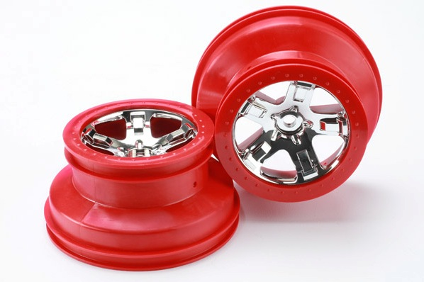 "TRAXXAS запчасти Wheels, SCT chrome, red beadlock style, dual profile (2.2"" outer, 3.0"" inner) (4WD front/rear, 2WD r TRA5868"