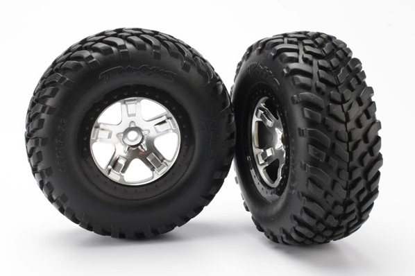 TRAXXAS запчасти Tires  wheels, assembled, glued (SCT satin chrome, black beadlock style wheels, SCT off-road ra TRA5873X