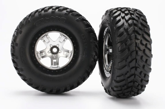 TRAXXAS запчасти Tires  wheels, assembled, glued (SCT satin chrome, black beadlock style wheels, SCT off-road ra TRA5875X