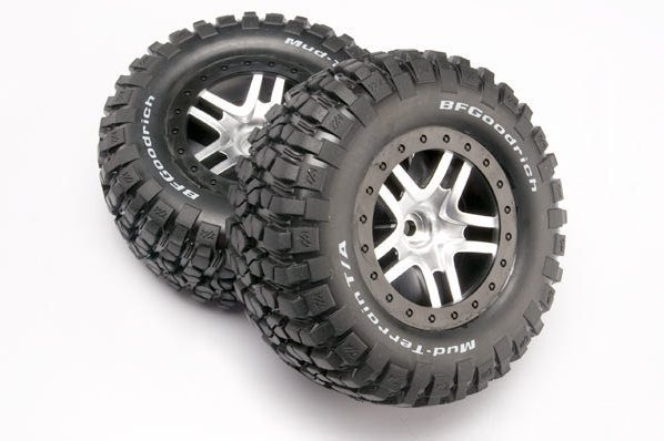 TRAXXAS запчасти Tires  wheels, assembled, glued (SCT Split-Spoke, satin chrome, black beadlock wheels, BFGoodri TRA5877