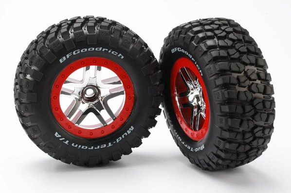 TRAXXAS запчасти Tires  wheels, assembled, glued( 2WD front) (SCT Split-Spoke, chrome red beadlock style wheels, BFG TRA5877A