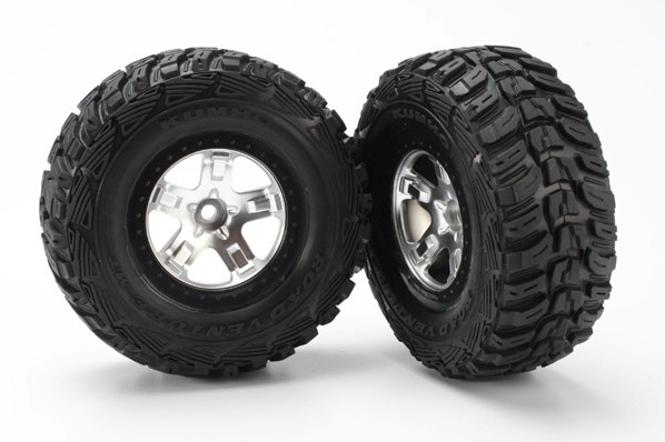 TRAXXAS запчасти Tires  wheels, assembled, glued (2WD front) (SCT satin chrome, beadlock style wheels, Kumho tires, TRA5881X