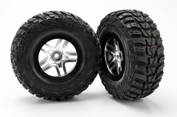 TRAXXAS запчасти Tires  wheels, assembled, glued (S1 ultra-soft off-road racing compound) (SCT Split-Spoke satin TRA5882R
