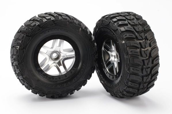 TRAXXAS запчасти Tires  wheels, assembled, glued (SCT Split-Spoke satin chrome, black beadlock style wheels, Kum TRA5882