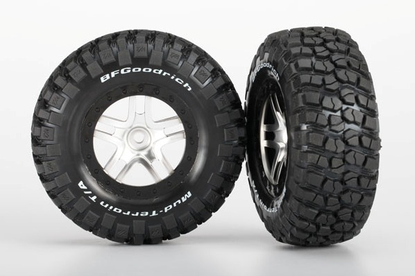 TRAXXAS запчасти Tires  wheels, assembled, glued (S1 ultra-soft off-road racing compound) (SCT Split-Spoke satin TRA6873X