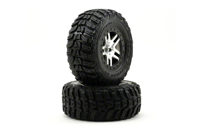 TRAXXAS запчасти Tires  wheels, assembled, glued (SCT Split-Spoke satin chrome, black beadlock style wheels, Kum TRA6874