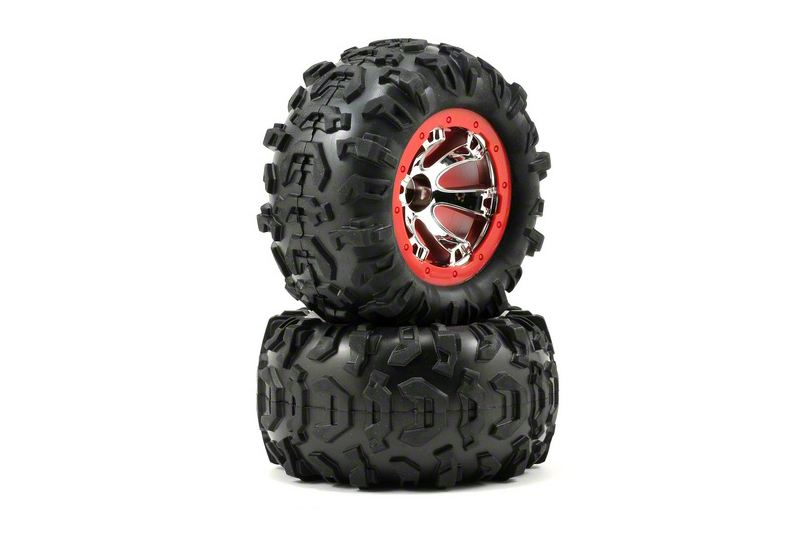 TRAXXAS запчасти Tires and wheels, assembled, glued (Geode chrome, red beadlock style wheels, Canyon AT tires, foam i TRA7272