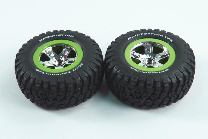 TRAXXAS запчасти Tires  wheels, assembled, glued (SCT, chrome, green beadlock wheel, BFGoodrich® Mud-Terrain™ T/ TRA5865