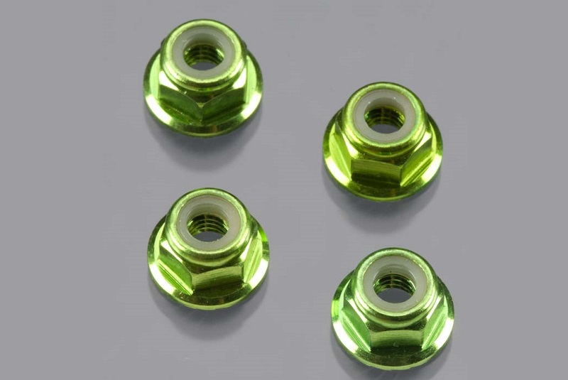 TRAXXAS запчасти Nuts, aluminum, flanged, serrated (4mm) (green-anodized) (4) TRA1747G