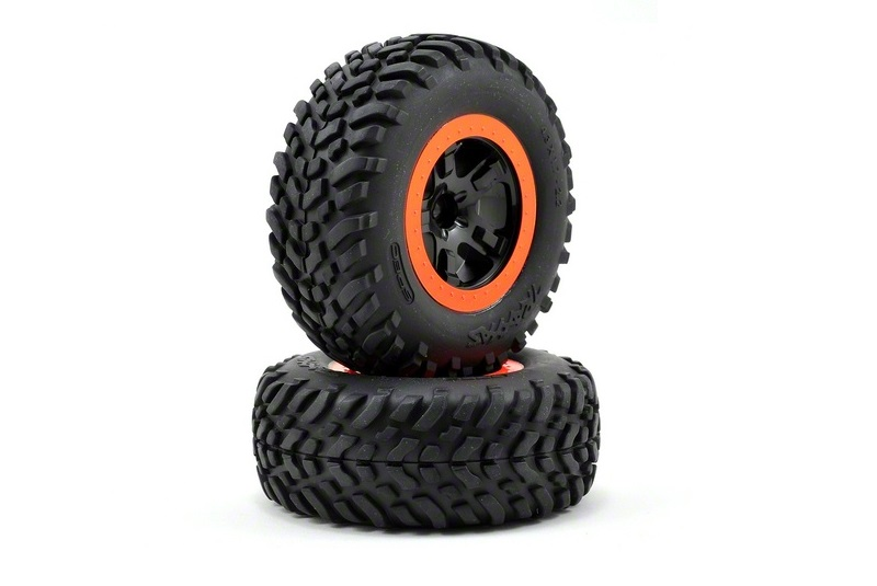TRAXXAS запчасти Tire  wheel assy, glued (SCT black, orange beadlock wheels, SCT off-road racing tires, foam ins TRA5864