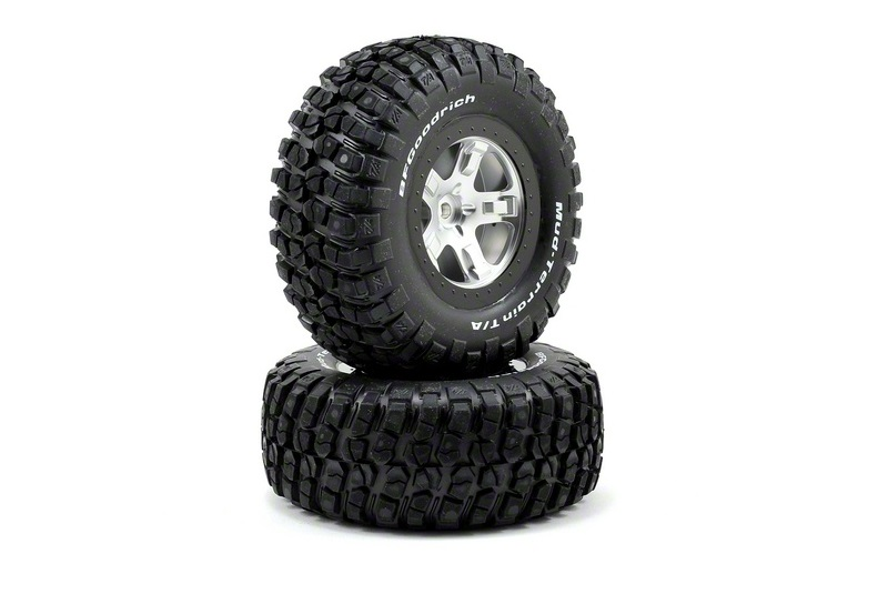TRAXXAS запчасти Tires  wheels, assembled, glued (SCT satin chrome, black beadlock style wheels, BFGoodrich® Mud TRA5878