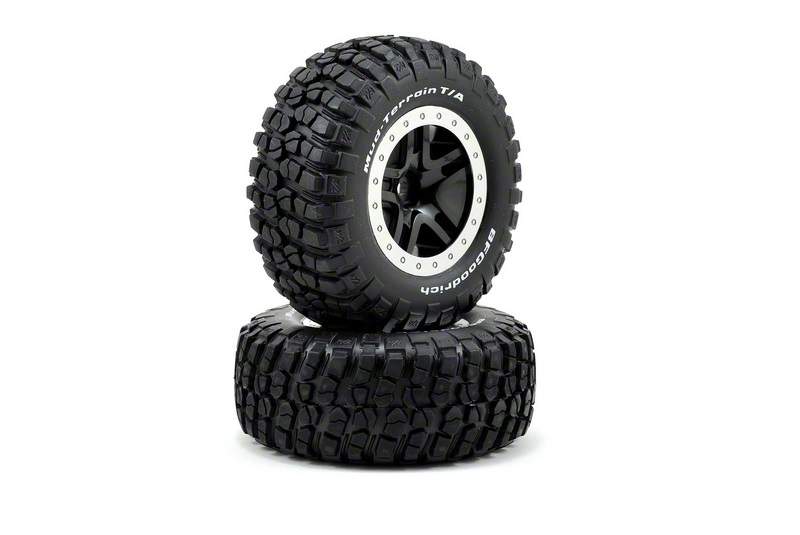 TRAXXAS запчасти Tires  wheels, assembled, glued (SCT Split-Spoke, black, satin chrome beadlock wheels, BFGoodri TRA5883