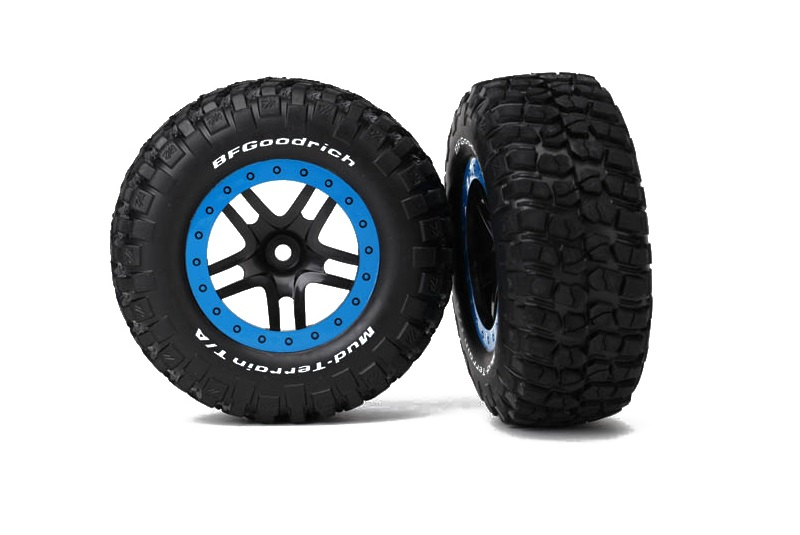 TRAXXAS запчасти Tire  wheel assy, glued (SCT Split-Spoke, black, blue beadlock wheels, BFGoodrich® Mud-Terrain™ TRA5883A