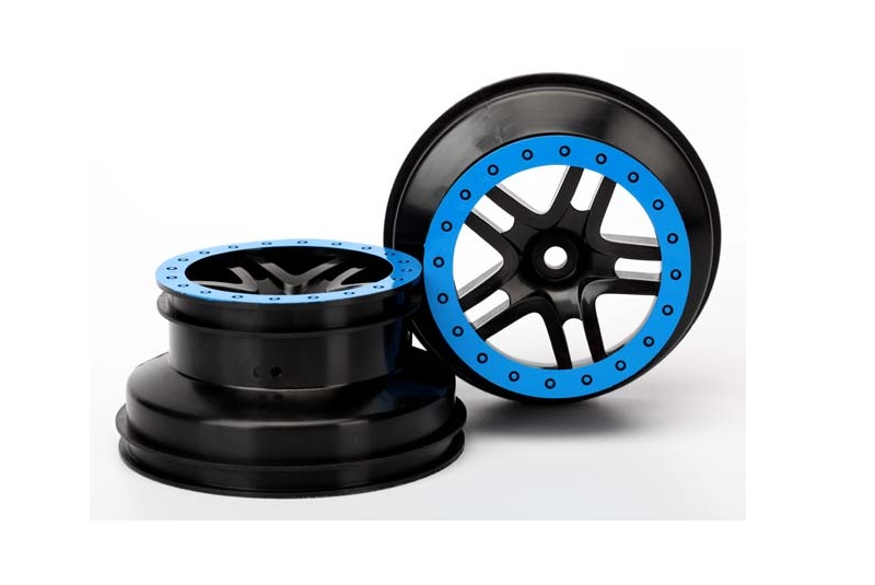 TRAXXAS запчасти Wheels, SCT Split-Spoke, black, blue beadlock style, dual profile (2.2'' outer 3.0' TRA5884A