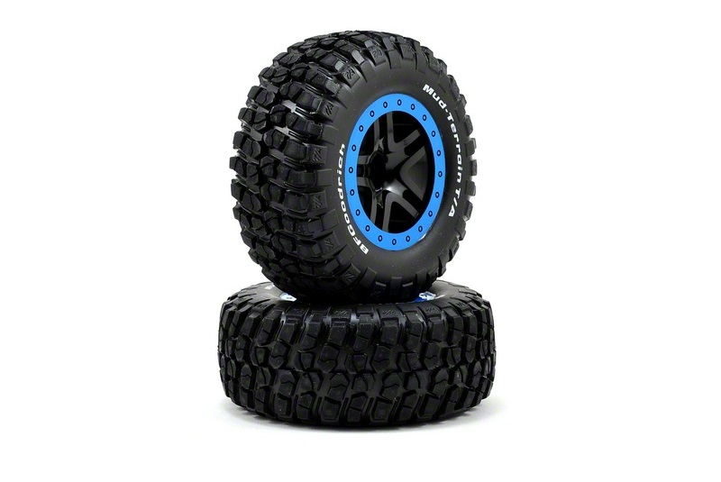 TRAXXAS запчасти Tire  wheel assy, glued (SCT Split-Spoke, black, blue beadlock wheels, BFGoodrich® Mud-Terrain™ TRA5885A