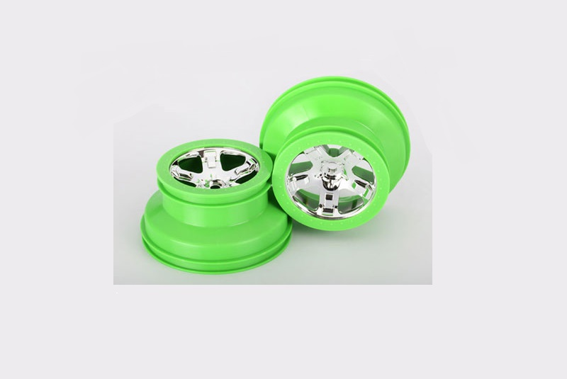 TRAXXAS запчасти Wheels, SCT Split-Spoke, chrome, green beadlock style, dual profile (2.2'' outer 3.0' TRA6872X