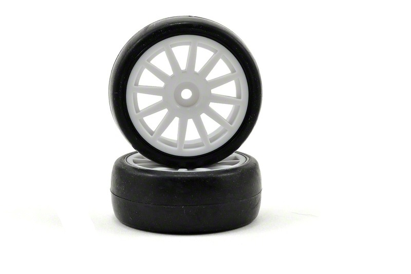 TRAXXAS запчасти Tires  wheels, assembled, glued (12-spoke white wheels, slick tires) (2) TRA7572