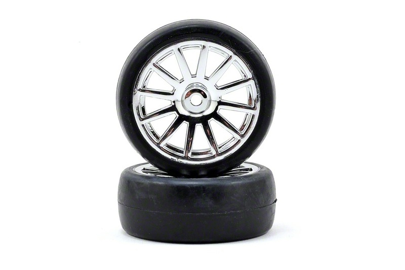 TRAXXAS запчасти Tires  wheels, assembled, glued (12-spoke chrome wheels, slick tires) (2) TRA7573