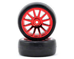 TRAXXAS запчасти Tires  wheels, assembled, glued (12-spoke red chrome wheels, slick tires) (2) TRA7573x
