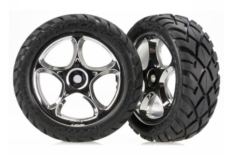 TRAXXAS запчасти Tires  wheels, assembled (Tracer 2.2'' chrome wheels, Anaconda 2.2'' tires  TRA2479R