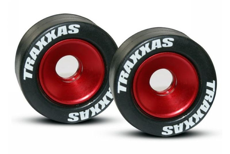 TRAXXAS запчасти Wheels, aluminum (red-anodized) (2)/ 5x8mm ball bearings (4)/ axles (2)/ rubber tires (2) TRA5186