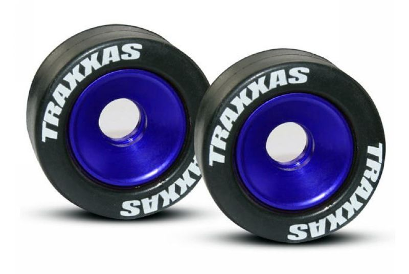 TRAXXAS запчасти Wheels, aluminum (blue-anodized) (2)/ 5x8mm ball bearings (4)/ axles (2)/ rubber tires (2) TRA5186A