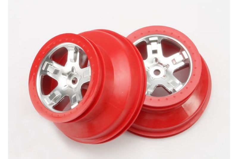 TRAXXAS запчасти Wheels, SCT satin chrome, red beadlock style, dual profile (2.2'' outer, 3.0'' i TRA5872A