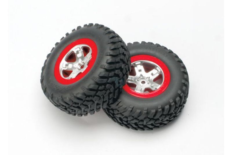 TRAXXAS запчасти Tires  wheels, assembled, glued (SCT satin chrome, red-beadlock style wheels, SCT off-road tire TRA5873A