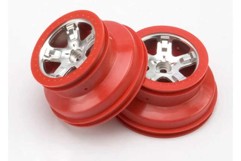 TRAXXAS запчасти Wheels, SCT satin chrome, red beadlock style, dual profile (2.2'' outer, 3.0'' i TRA5874A